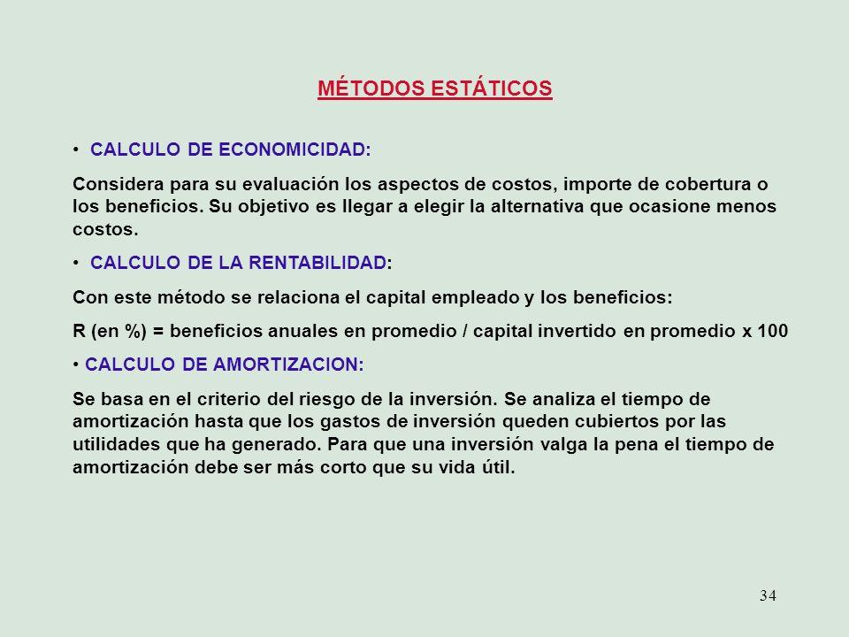 MÉTODOS ESTÁTICOS CALCULO DE ECONOMICIDAD: