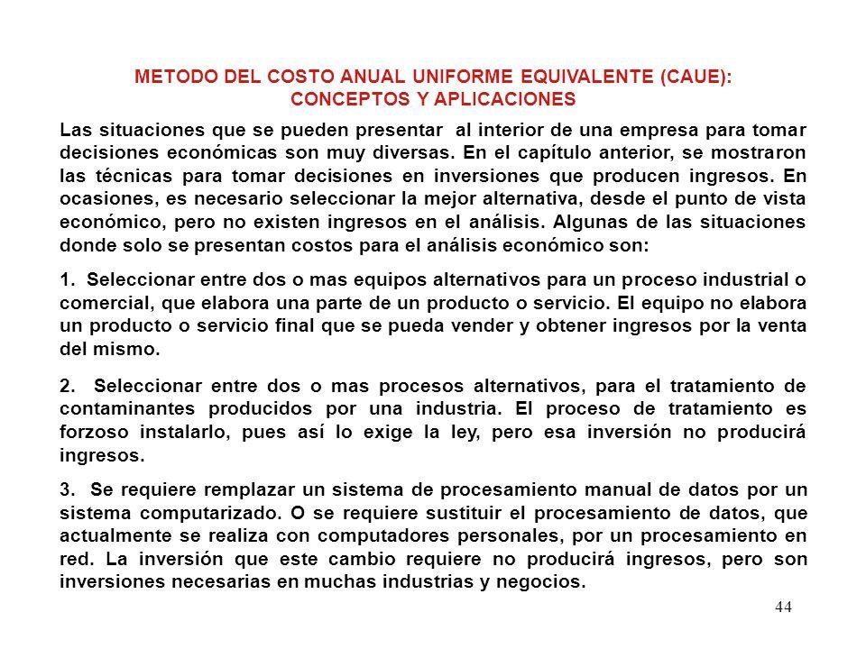 METODO DEL COSTO ANUAL UNIFORME EQUIVALENTE (CAUE):