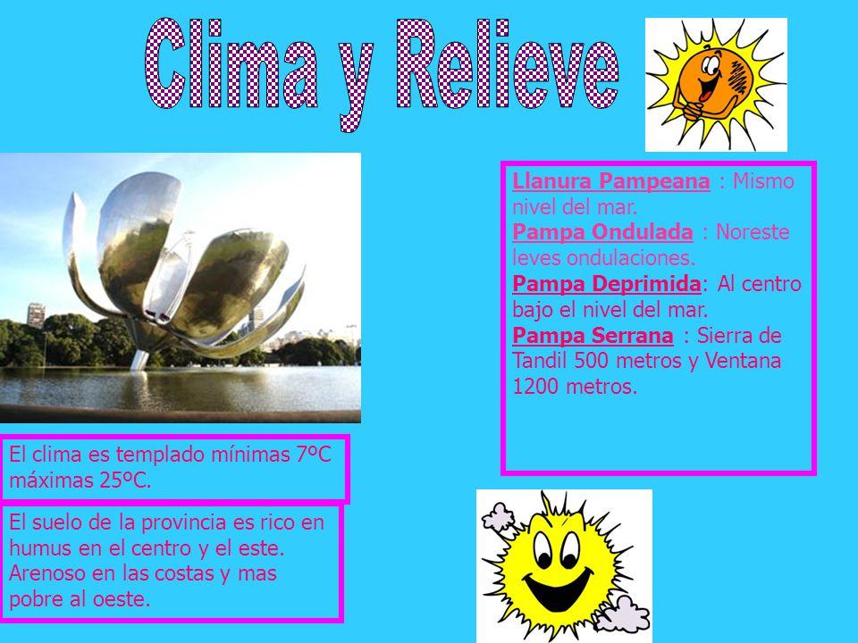 Clima y Relieve Llanura Pampeana : Mismo nivel del mar. Pampa Ondulada : Noreste leves ondulaciones.