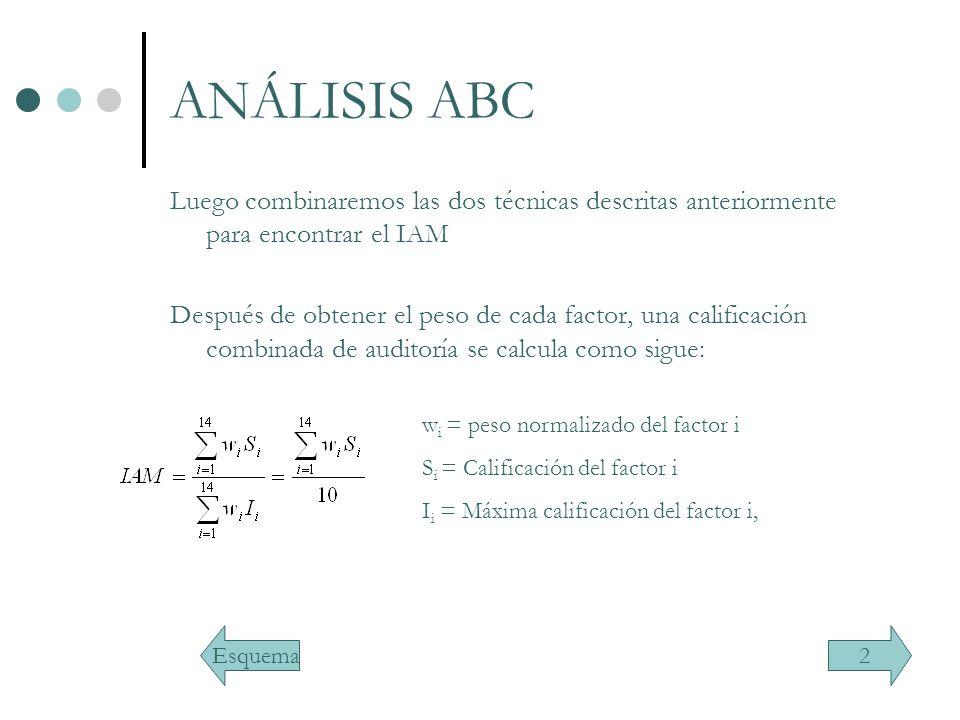 ANÁLISIS ABC Luego combinaremos las dos técnicas descritas anteriormente para encontrar el IAM.