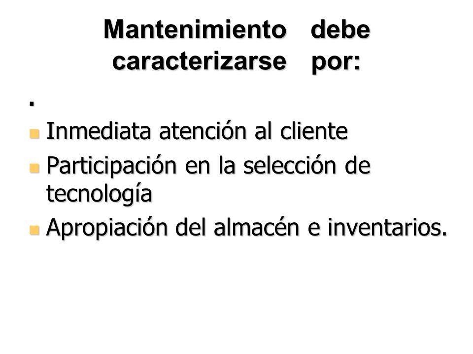 Mantenimiento debe caracterizarse por: