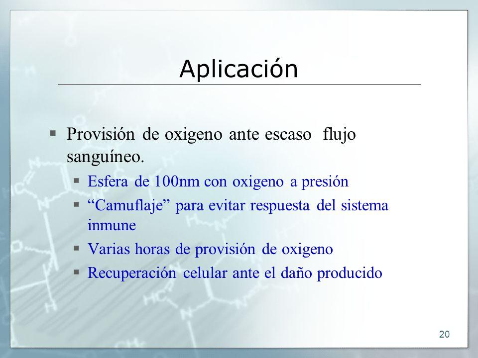 Aplicación Provisión de oxigeno ante escaso flujo sanguíneo.