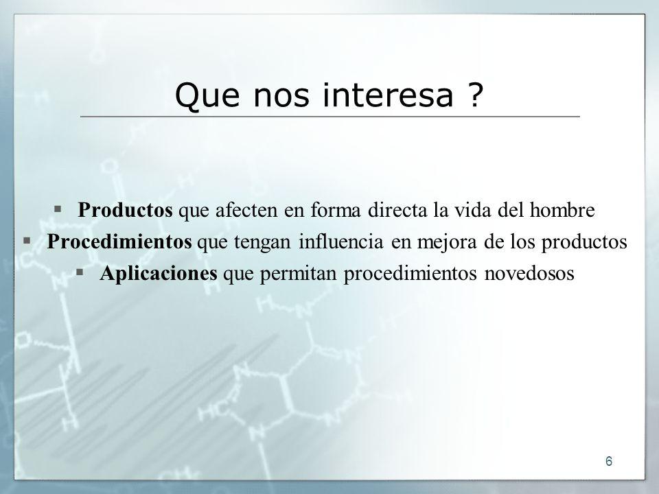 Que nos interesa Productos que afecten en forma directa la vida del hombre. Procedimientos que tengan influencia en mejora de los productos.