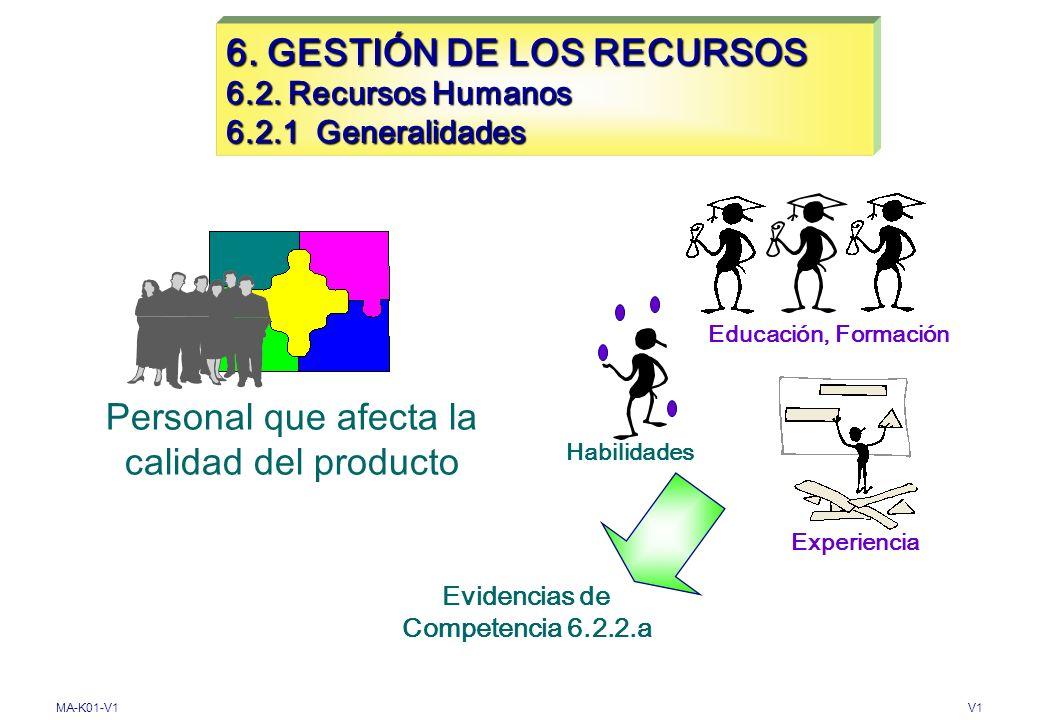 6. GESTIÓN DE LOS RECURSOS 6.2. Recursos Humanos 6.2.1 Generalidades