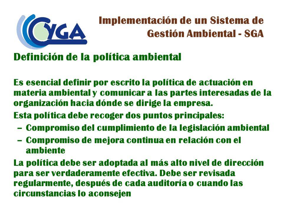 Implementación de un Sistema de Gestión Ambiental - SGA
