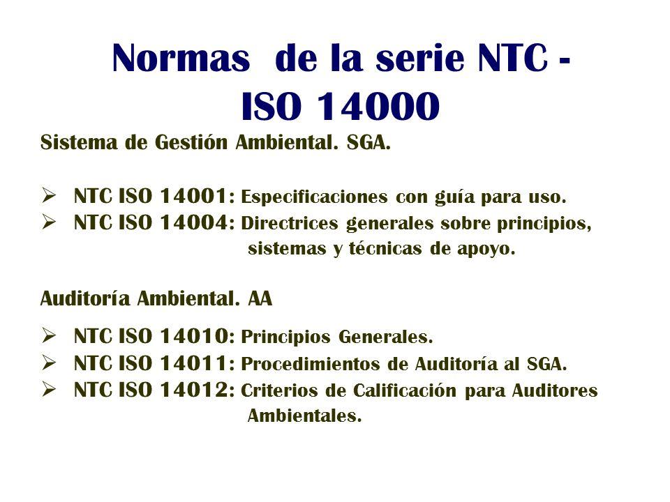 Normas de la serie NTC - ISO 14000