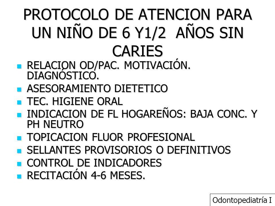 PROTOCOLO DE ATENCION PARA UN NIÑO DE 6 Y1/2 AÑOS SIN CARIES