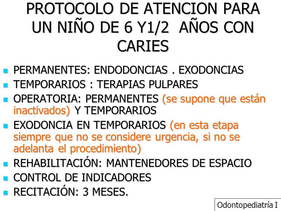 PROTOCOLO DE ATENCION PARA UN NIÑO DE 6 Y1/2 AÑOS CON CARIES