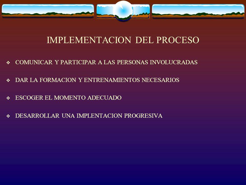 IMPLEMENTACION DEL PROCESO