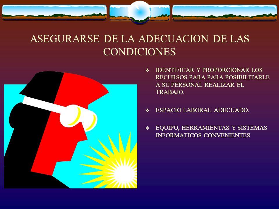 ASEGURARSE DE LA ADECUACION DE LAS CONDICIONES