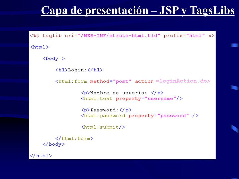 Capa de presentación – JSP y TagsLibs