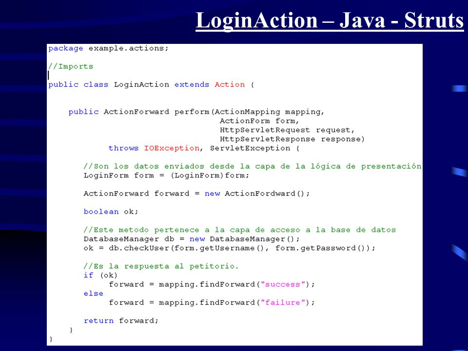 LoginAction – Java - Struts