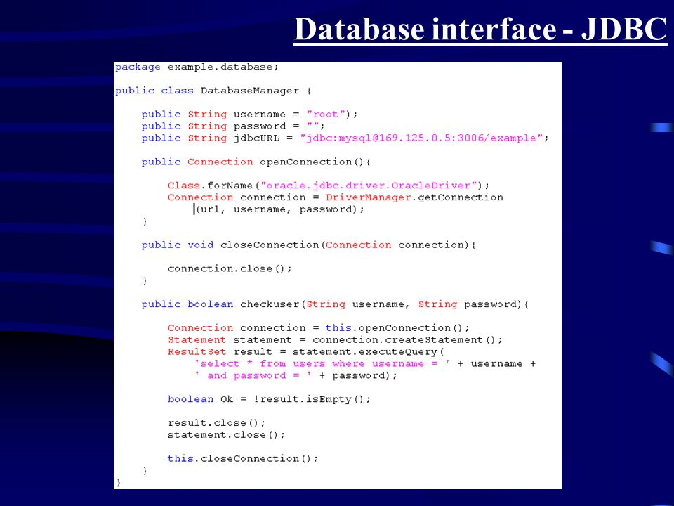 Database interface - JDBC