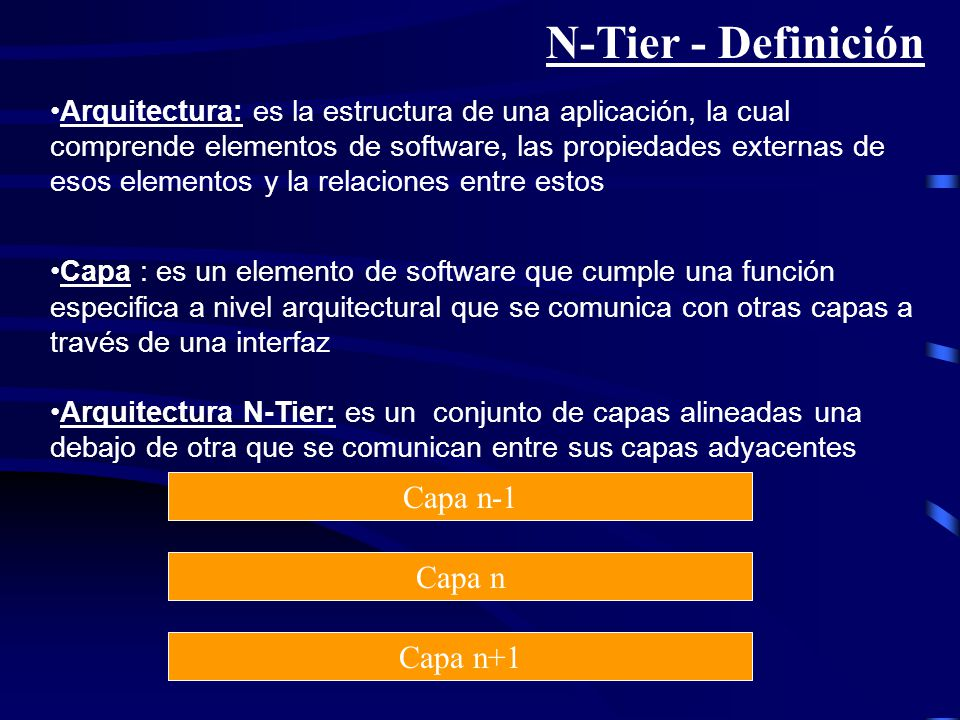 N-Tier - Definición Capa n-1 Capa n Capa n+1