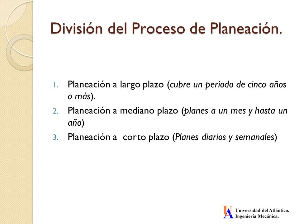 División del Proceso de Planeación.