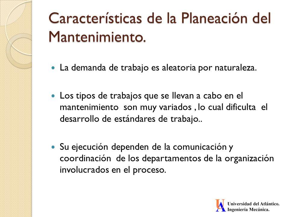 Características de la Planeación del Mantenimiento.