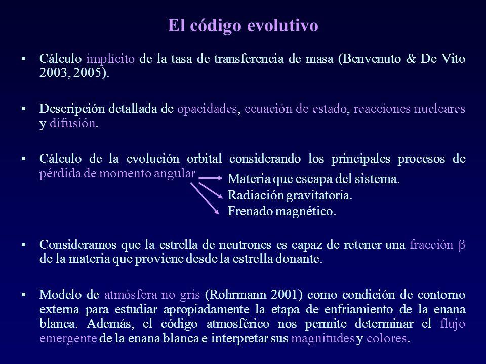 El código evolutivo Cálculo implícito de la tasa de transferencia de masa (Benvenuto & De Vito 2003, 2005).
