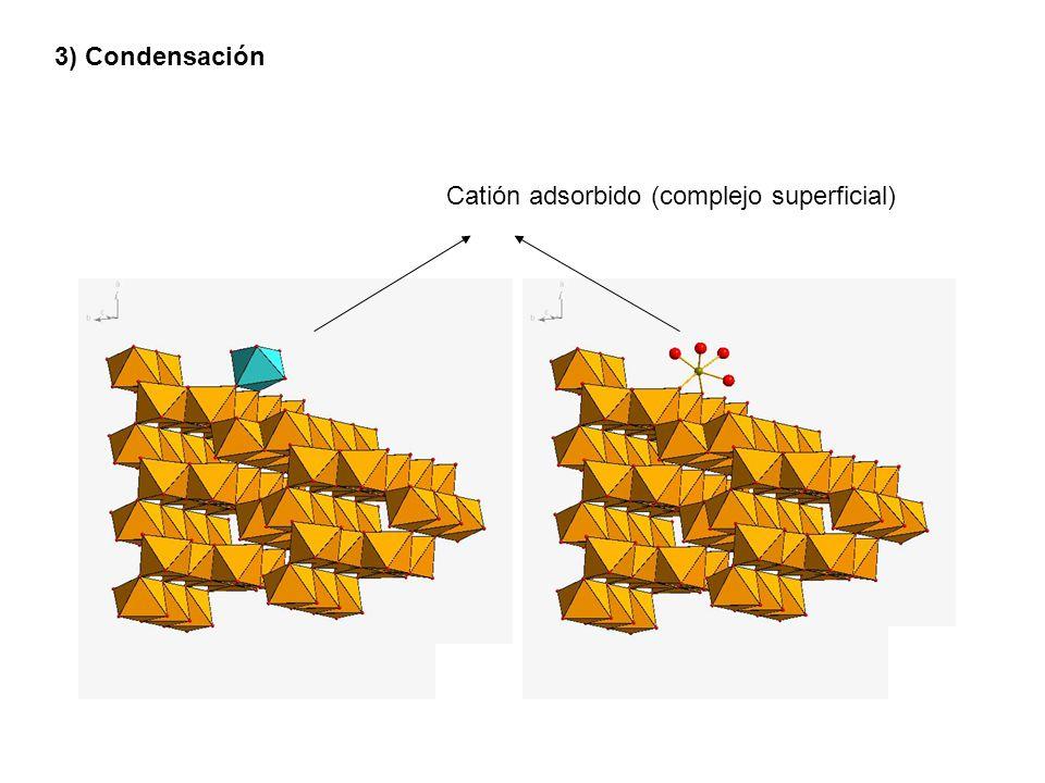 3) Condensación Catión adsorbido (complejo superficial)