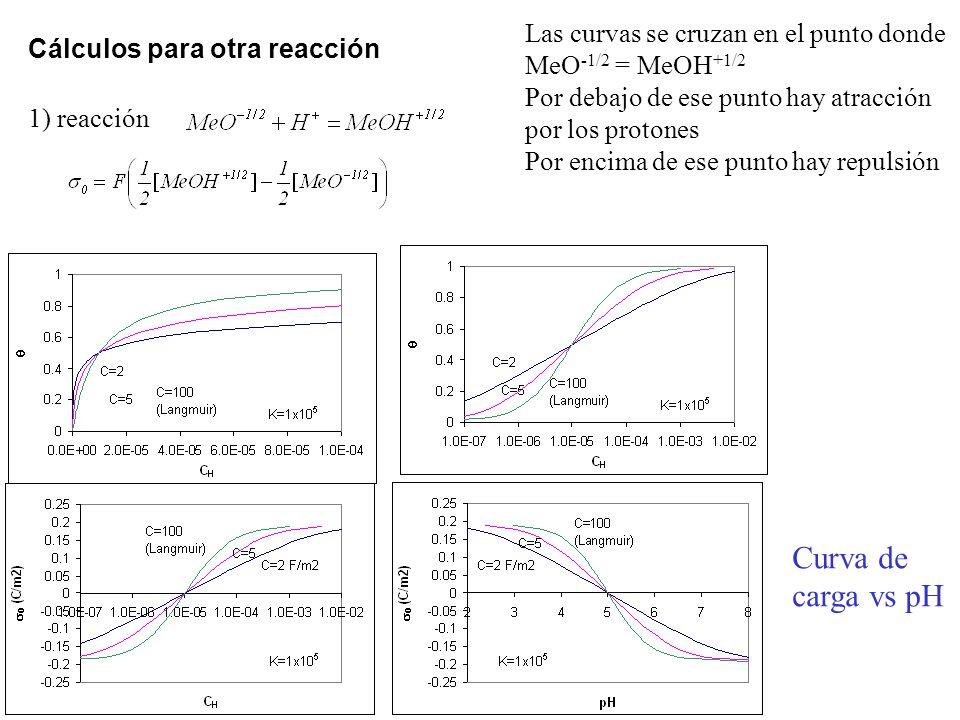 Las curvas se cruzan en el punto donde MeO-1/2 = MeOH+1/2