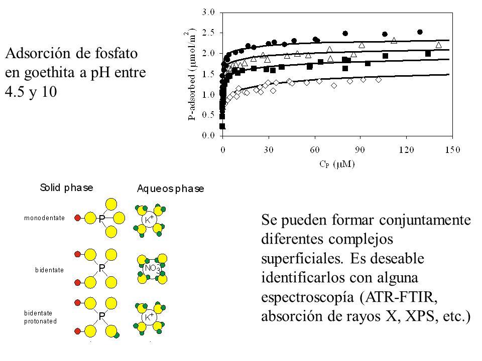 Adsorción de fosfato en goethita a pH entre 4.5 y 10