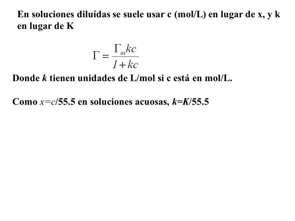 En soluciones diluídas se suele usar c (mol/L) en lugar de x, y k en lugar de K