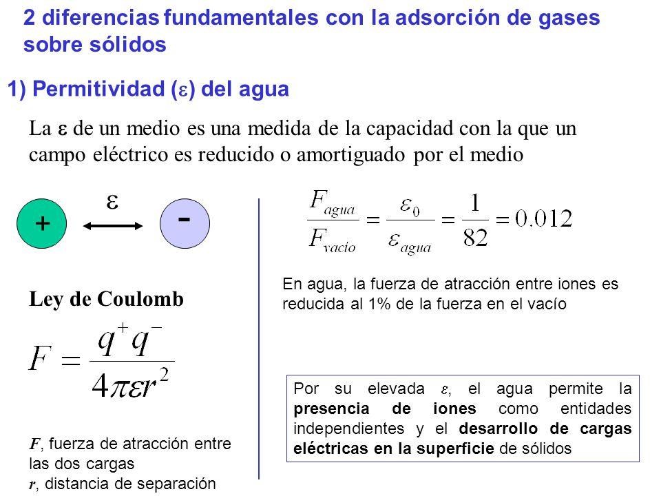 2 diferencias fundamentales con la adsorción de gases sobre sólidos