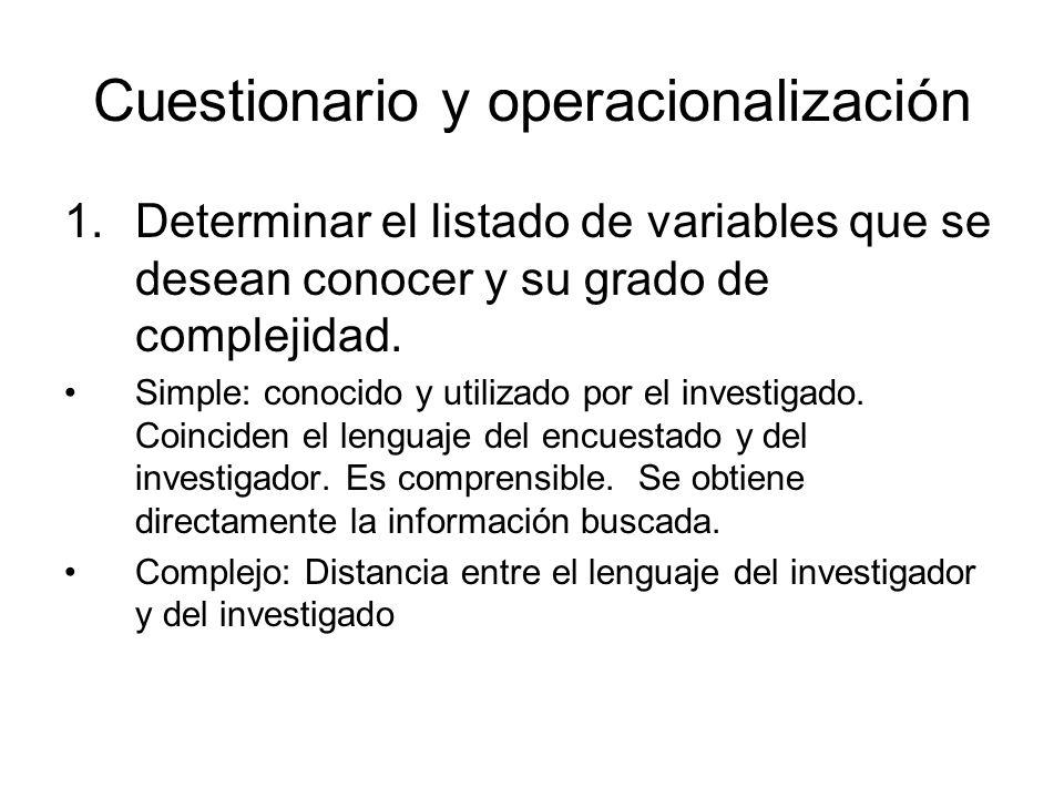 Cuestionario y operacionalización