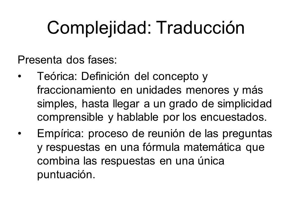 Complejidad: Traducción