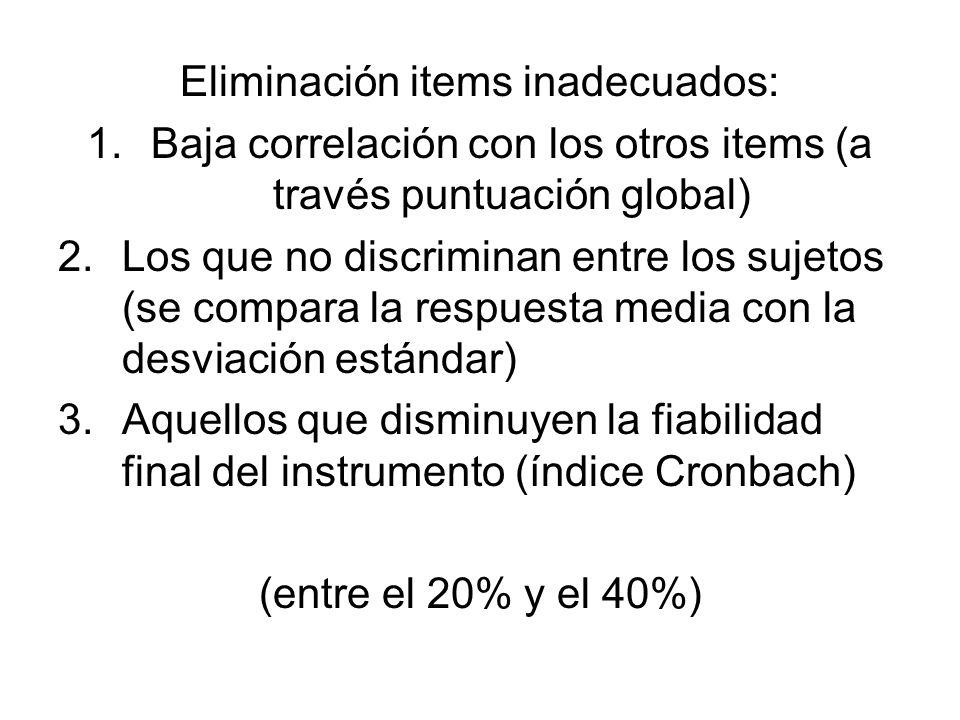 Eliminación items inadecuados: