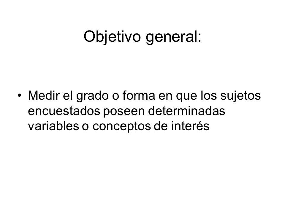 Objetivo general: Medir el grado o forma en que los sujetos encuestados poseen determinadas variables o conceptos de interés.