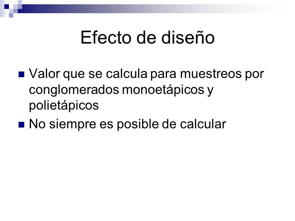 Efecto de diseño Valor que se calcula para muestreos por conglomerados monoetápicos y polietápicos.
