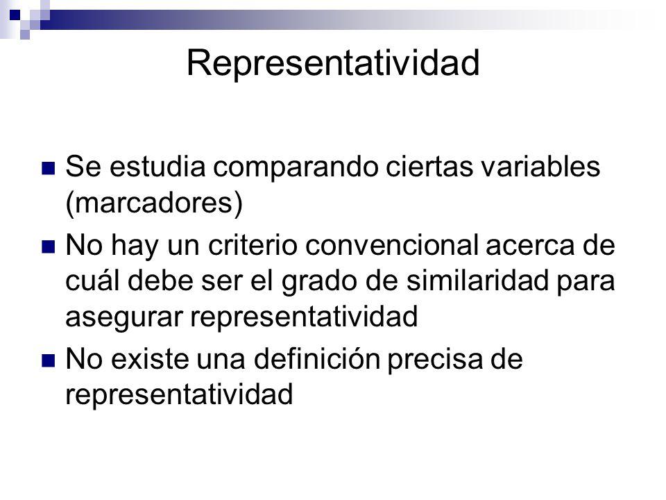 Representatividad Se estudia comparando ciertas variables (marcadores)