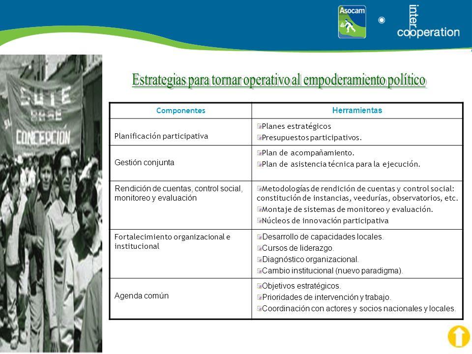 Estrategias para tornar operativo al empoderamiento político