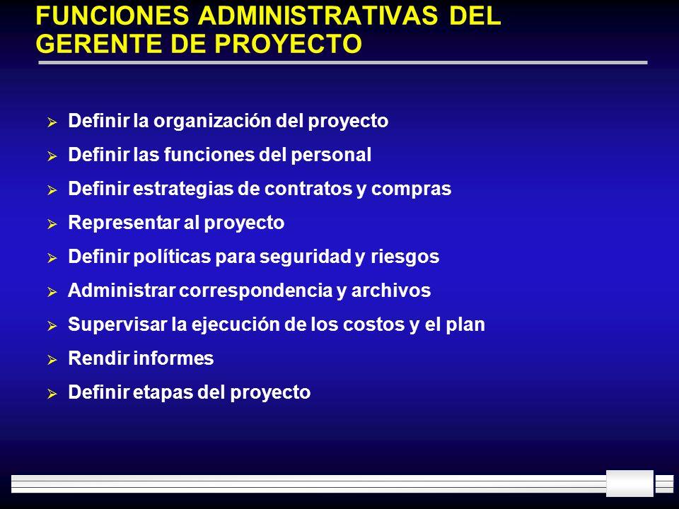 FUNCIONES ADMINISTRATIVAS DEL GERENTE DE PROYECTO