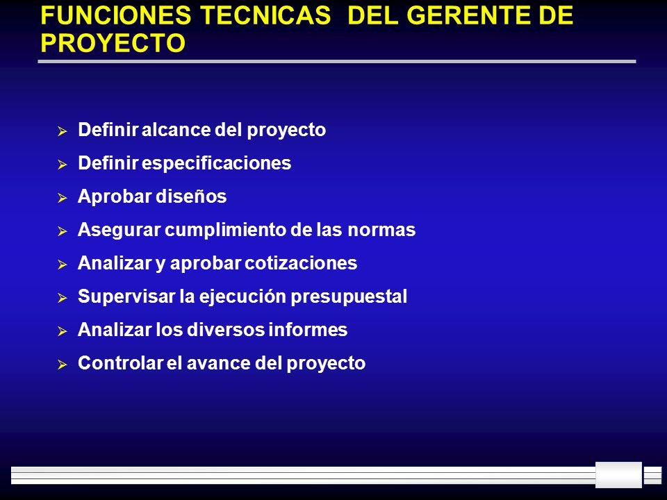 FUNCIONES TECNICAS DEL GERENTE DE PROYECTO