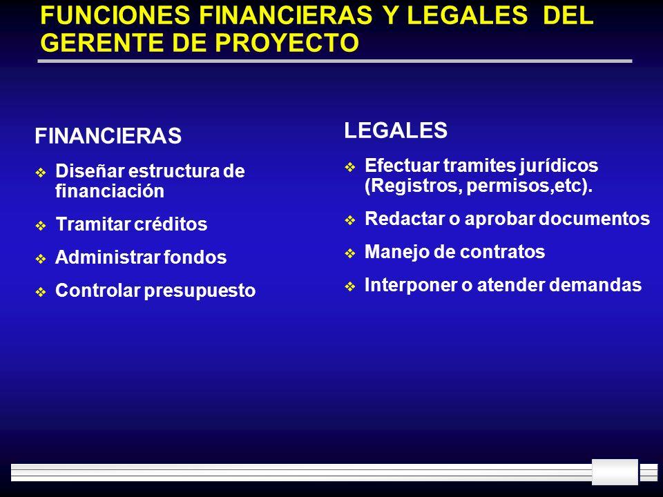 FUNCIONES FINANCIERAS Y LEGALES DEL GERENTE DE PROYECTO