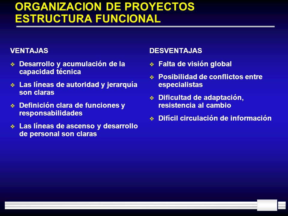 ORGANIZACION DE PROYECTOS ESTRUCTURA FUNCIONAL