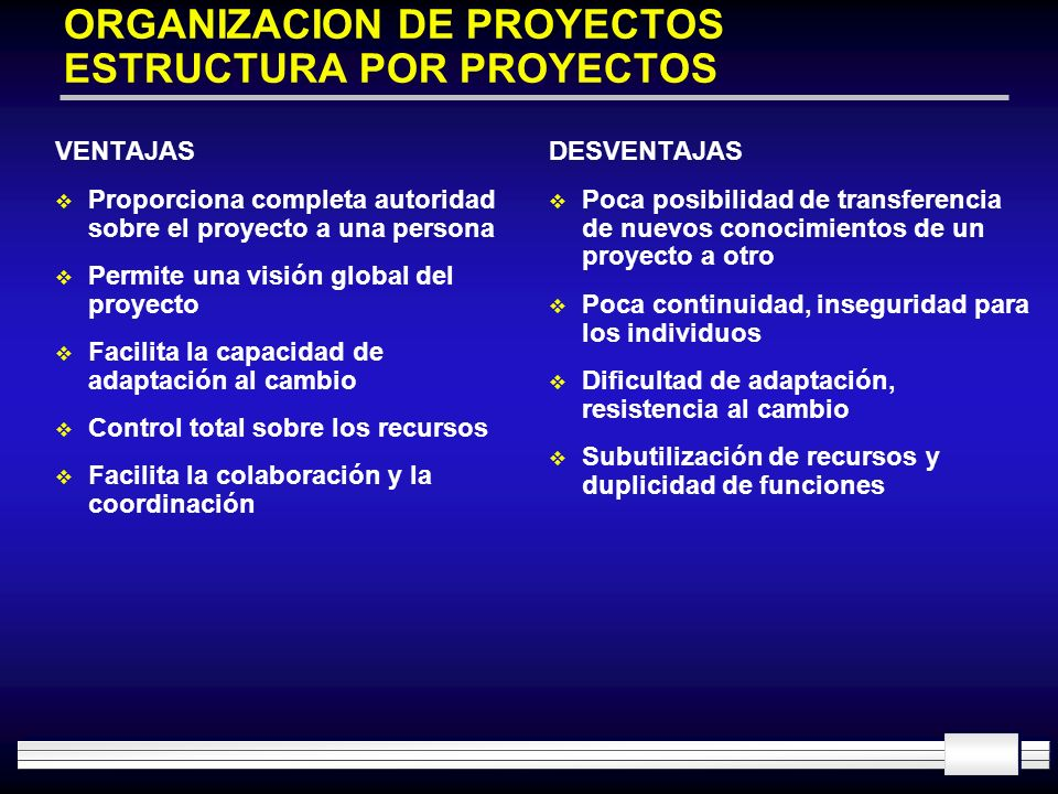 ORGANIZACION DE PROYECTOS ESTRUCTURA POR PROYECTOS