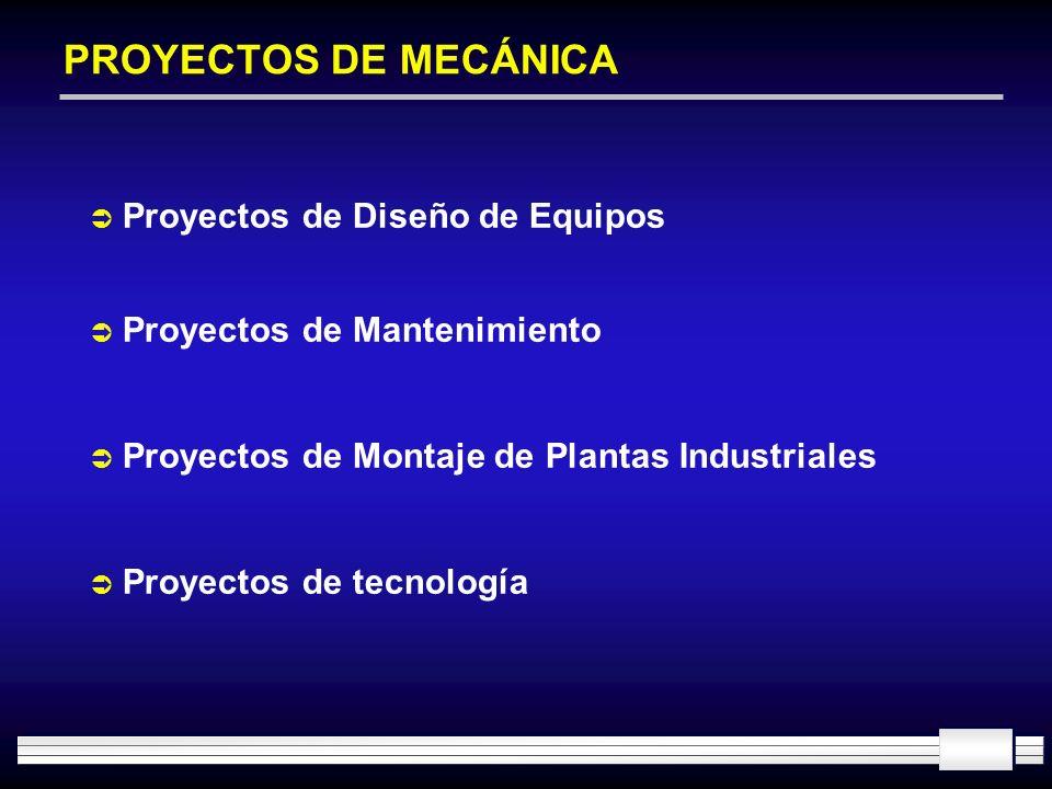 PROYECTOS DE MECÁNICA Proyectos de Diseño de Equipos