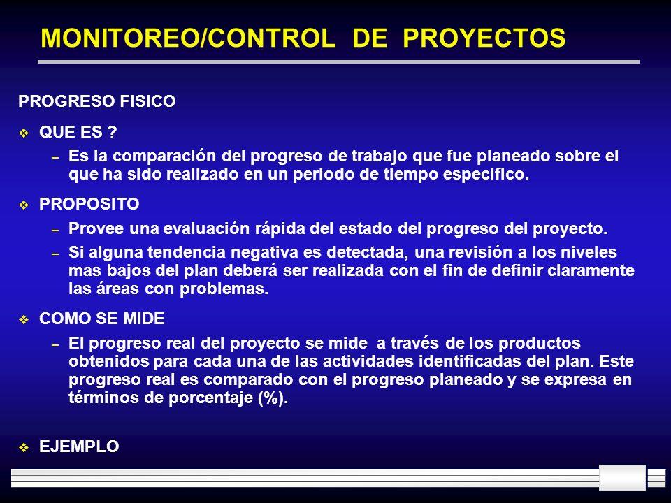 MONITOREO/CONTROL DE PROYECTOS