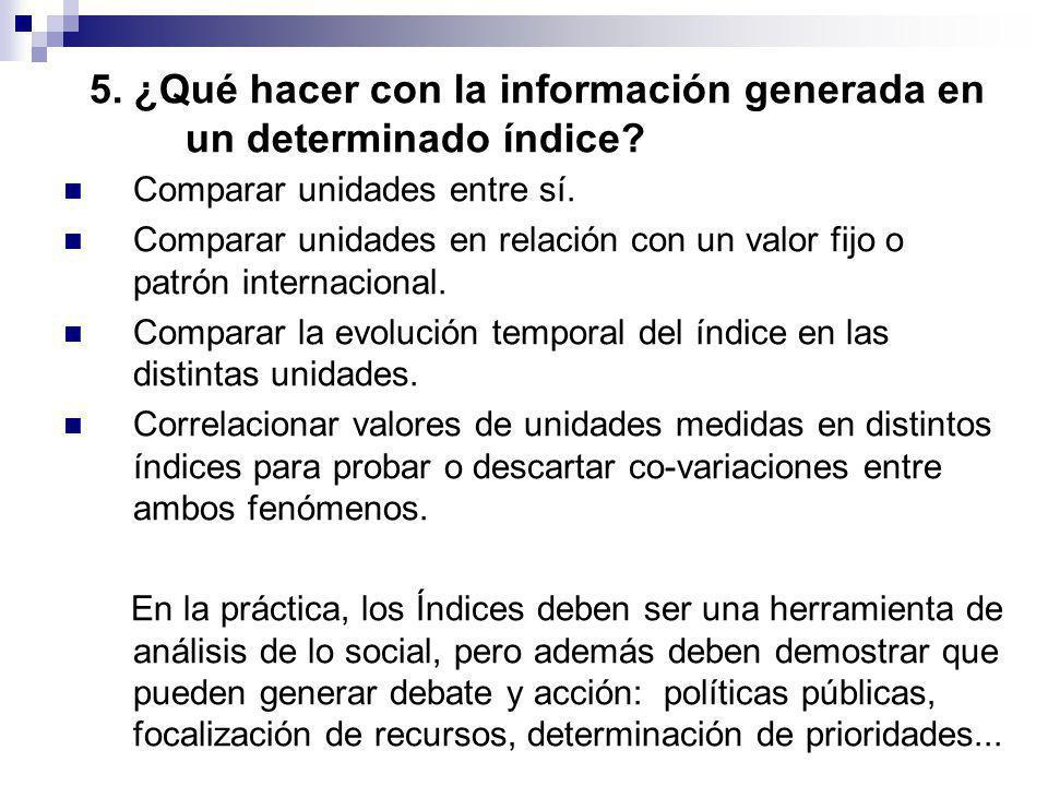 5. ¿Qué hacer con la información generada en un determinado índice