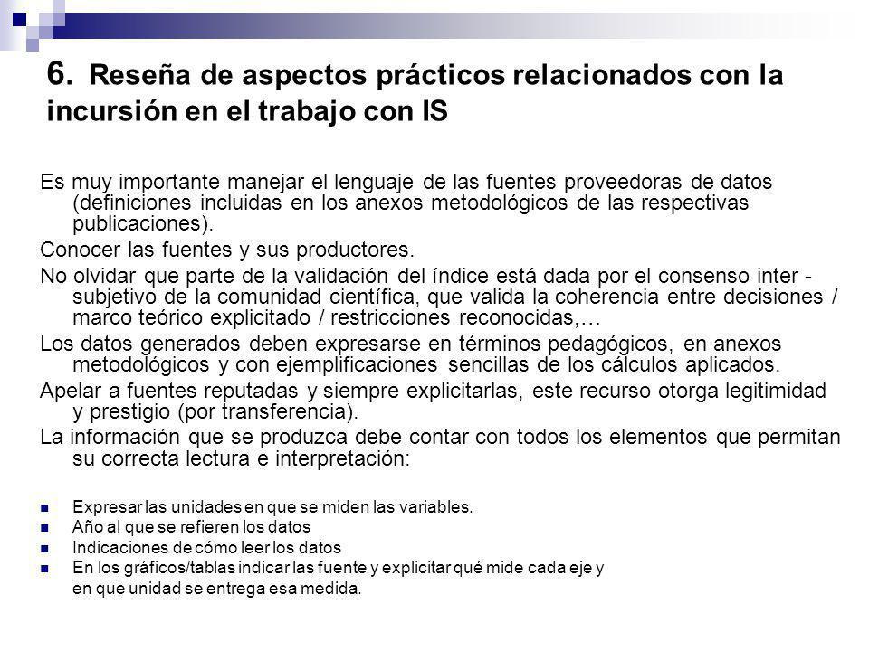 6. Reseña de aspectos prácticos relacionados con la incursión en el trabajo con IS