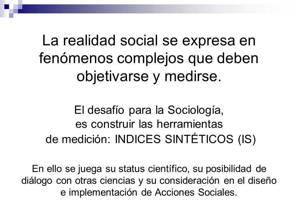 La realidad social se expresa en fenómenos complejos que deben objetivarse y medirse.