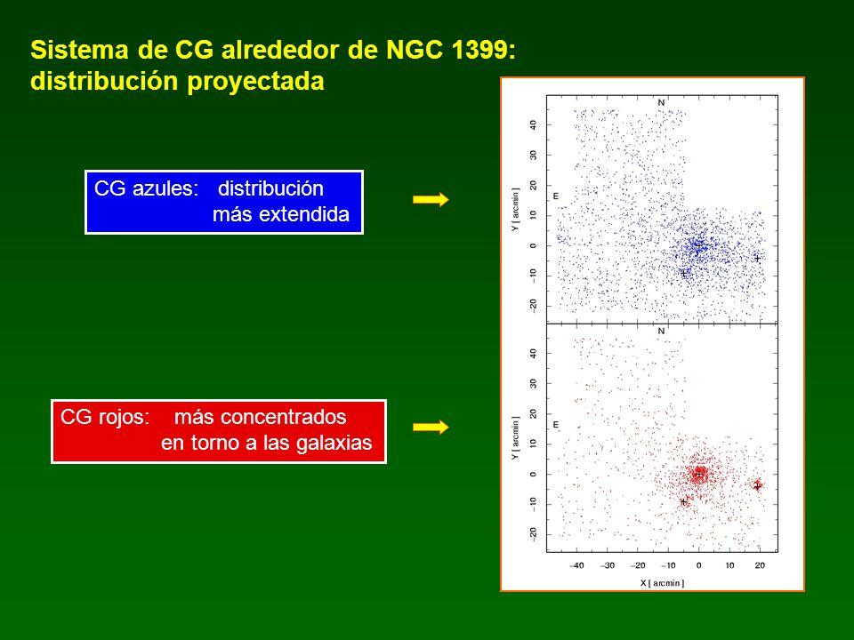 Sistema de CG alrededor de NGC 1399: distribución proyectada