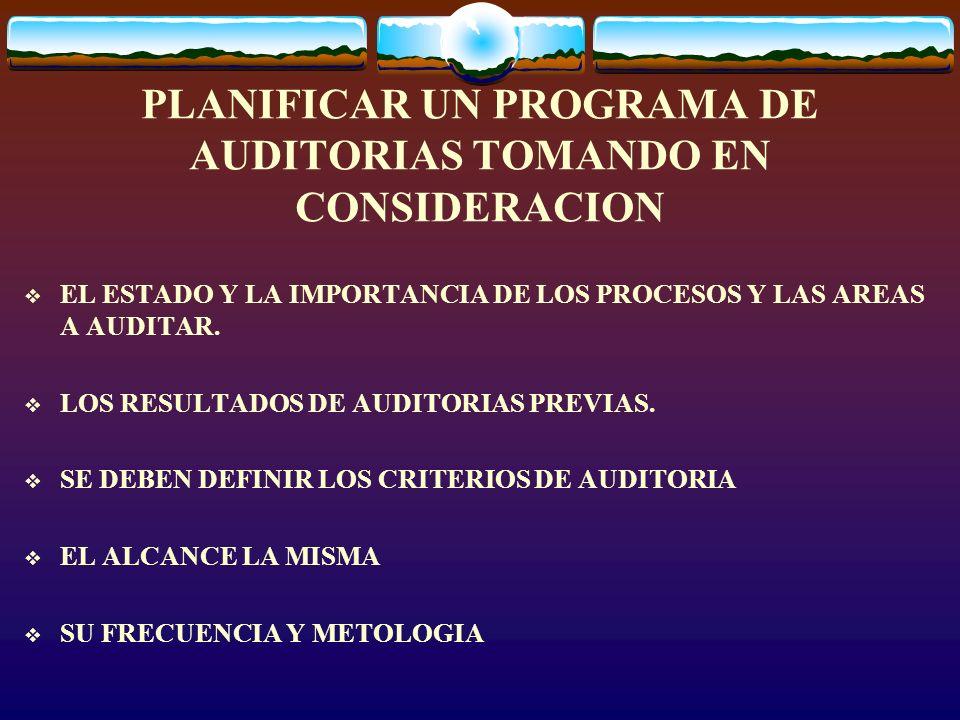 PLANIFICAR UN PROGRAMA DE AUDITORIAS TOMANDO EN CONSIDERACION