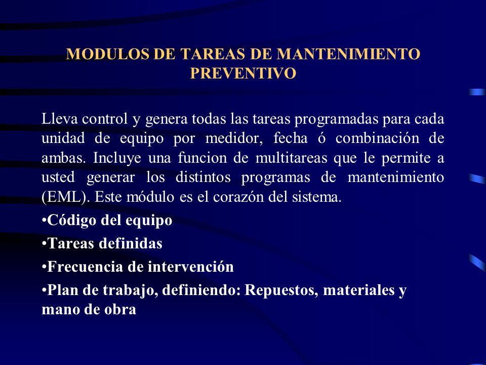 MODULOS DE TAREAS DE MANTENIMIENTO PREVENTIVO