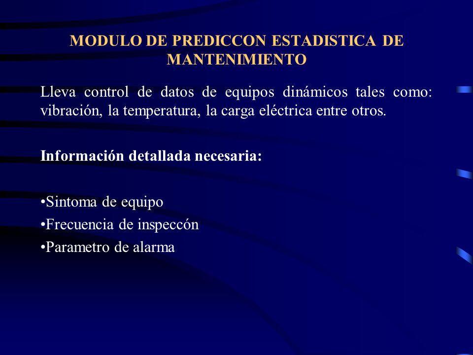 MODULO DE PREDICCON ESTADISTICA DE MANTENIMIENTO
