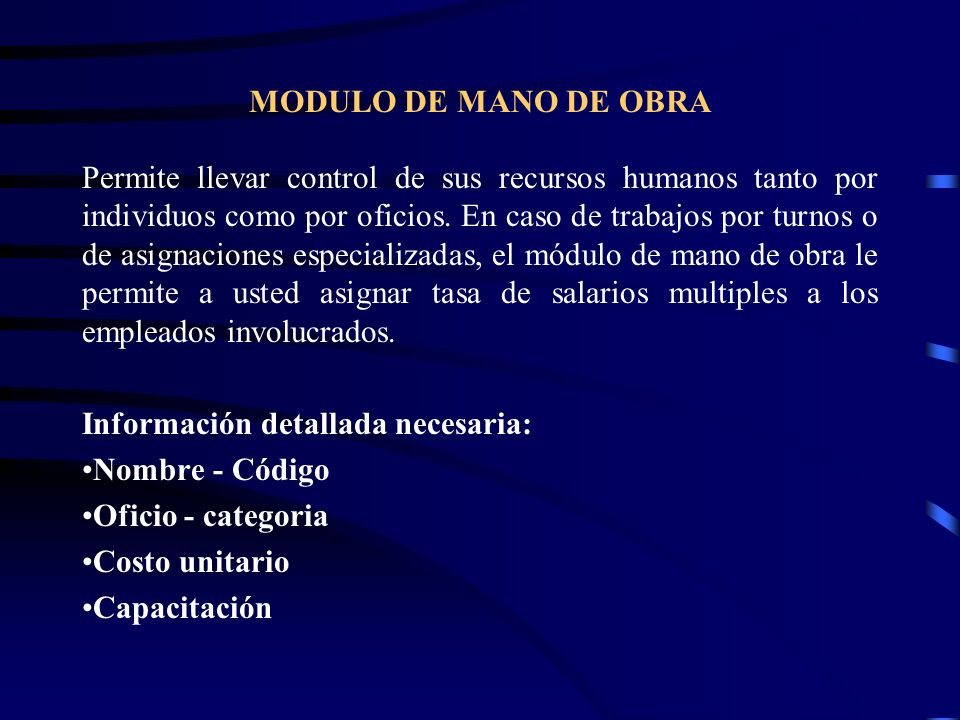 MODULO DE MANO DE OBRA