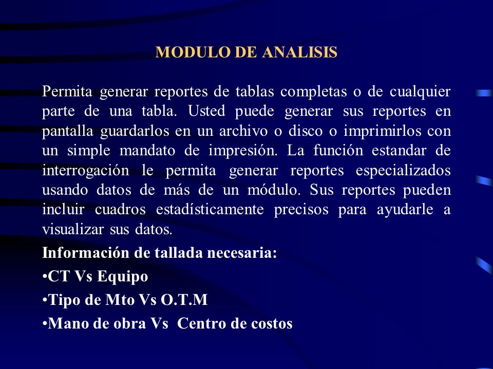 MODULO DE ANALISIS