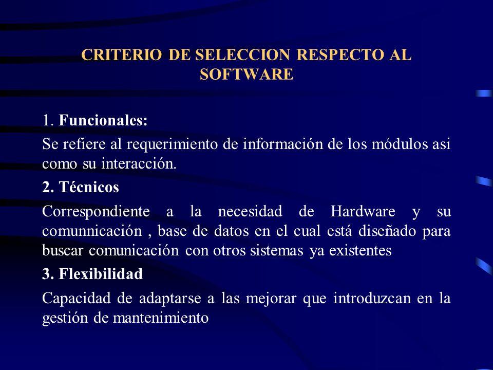CRITERIO DE SELECCION RESPECTO AL SOFTWARE